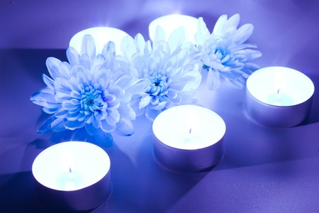 tea candles: Blue flower and tea candles, spa background