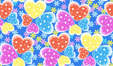 heart tone: Seamless candy color hearts pattern, Valentines day concept, vector illustration