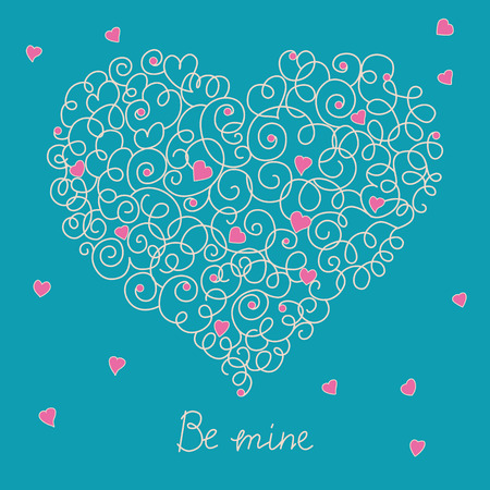 wed beauty: Greeting card with floral heart shape. Be mine sign