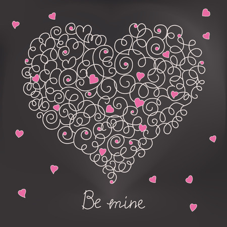 wed beauty: Greeting card with floral heart shape. Be mine sign.