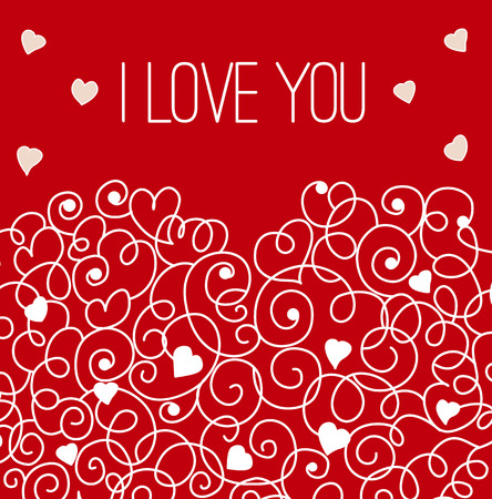 wed beauty: Greeting card with floral heart shape. I love You sign