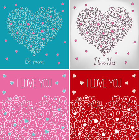 wed beauty: Collection of greeting cards with floral heart shape Illustration