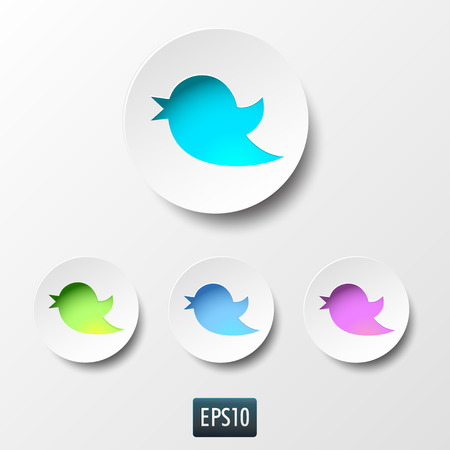 communication icon: Blue bird icon in blue circle on white background. Social network icon