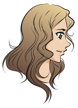茶髪: 長い茶色の髪を持つ美しいベクトル少女  イラスト・ベクター素材