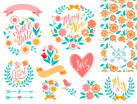 heart of love: BIG Wedding graphic set, arrows, hearts, laurel, wreaths, ribbons and labels.