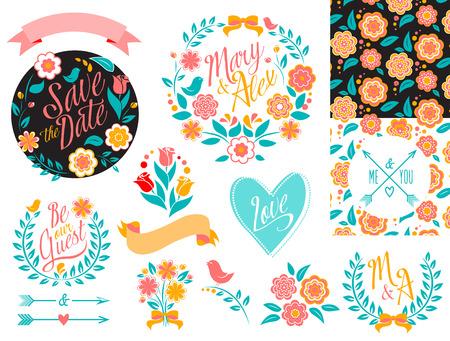 BIG Wedding graphic set, arrows, hearts, laurel, wreaths, ribbons and labels. Vector