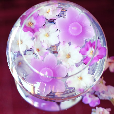 aroma bowl: Aroma Bowl with lilac Candles and Flowers