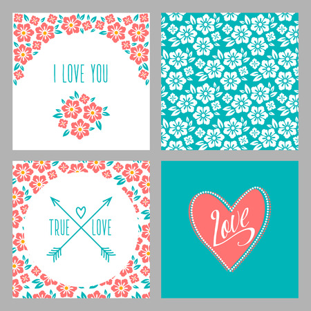 with true love: Set of Flower wedding invitation cards and 4 patterns, greeting, true love, i love you. Folk style