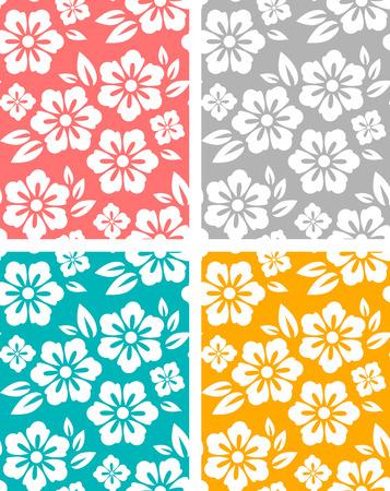 patrones de flores: Conjunto de dibujos de flores sin fisuras primavera. cuatro colores
