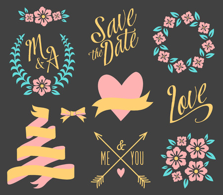 BIG Wedding graphic set isolated on black Vector