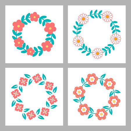 un: Floral Frame Collection. Set of cute retro flowers arranged un a shape of the wreath perfect for wedding invitations and birthday cards