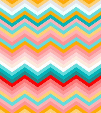 Beige, pink, red and turquoise chevron seamless abstract pattern background vector