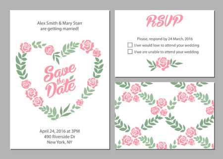 suite: Wedding invitation card suite with daisy flower Templates and pattern Illustration