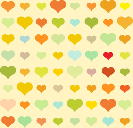 yellow vector: Heart pattern on yellow, vector seamless background.