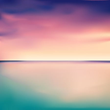 Panorama of a sunset in the sea or ocean, vector illustration. Stock Illustratie