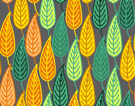 autumn leaves background: Warm and dark seamless autumn leaves background pattern Illustration