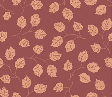 pantone: Seamless pattern autumn leaves colored in modern marsala pantone.