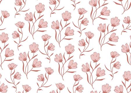 autumn flowers: Seamless pattern autumn flowers colored in modern marsala pantone on white.