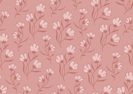 pantone: Seamless pattern autumn flowers colored in modern marsala pantone.