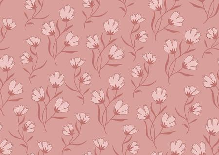 autumn flowers: Seamless pattern autumn flowers colored in modern marsala pantone.