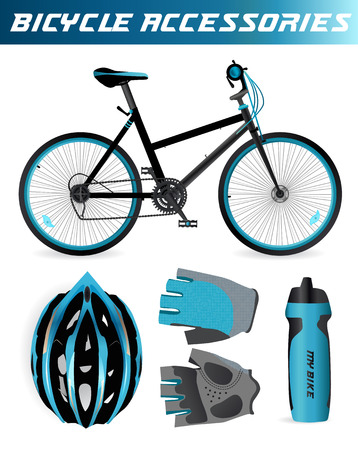 bicycle wheel: Bike or Bicycle accessories. Helmet, gloves and water bottle