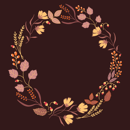 Autumn Floral Frame Collection. Cute set with retro flowers arranged in a shape of wreath perfect for wedding invitations and birthday cards.