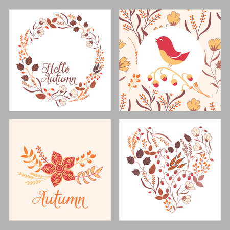 Autumn wedding graphic set with wreaths, flowers, herbs, flower bundles, laurels and labels. Invitation template with autumn flower motives. Postcrad and logotype elements. Stock Illustratie