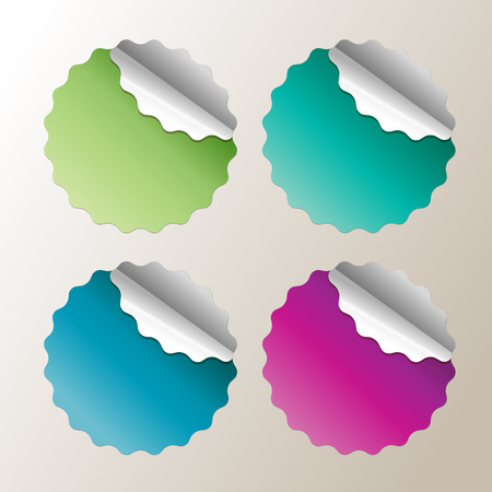 stiker: bright stickers in fashionable colors of autumn Illustration