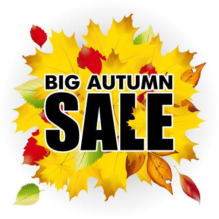 seasonal: Seasonal big autumn sale business background with colored leafs. vector.