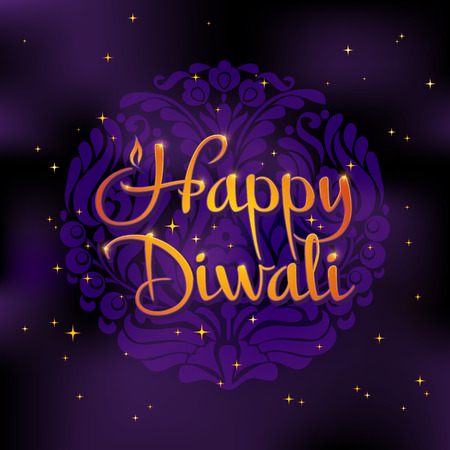 diwali celebration: Beautiful greeting card for Hindu community festival Diwali. Happy diwali festival background illustration. Card design for Diwali festival.