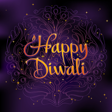 traditional festivals: Beautiful greeting card for Hindu community festival Diwali. Happy diwali festival background illustration. Card design for Diwali festival.