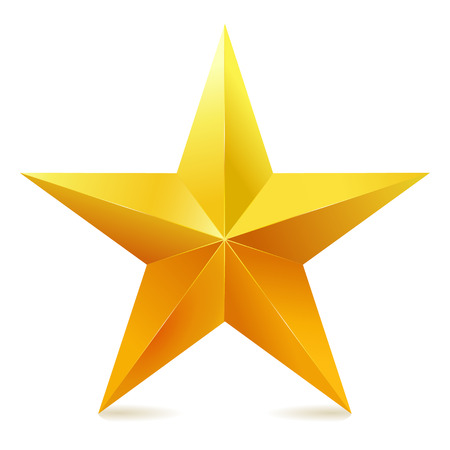 yellow: Single golden star shine on white background. Illustration