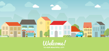 sign in: Vector city illustration in flat simple style - houses and buildings on horizontal banner - website headers. Sign Welcome to our beautiful city