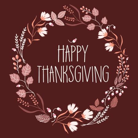 caes: Lema feliz día de Acción de Gracias en la corona de la muestra.