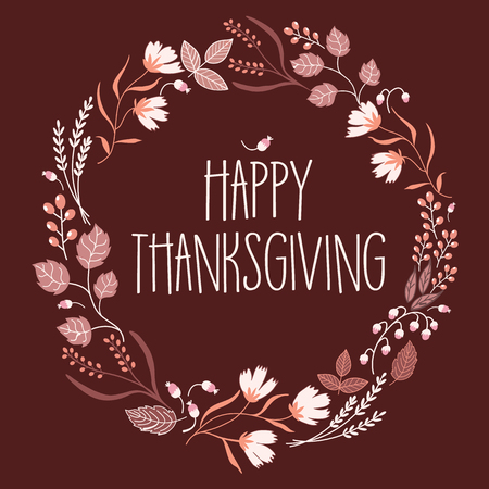 banner background: Slogan happy Thanksgiving day sign in wreath.