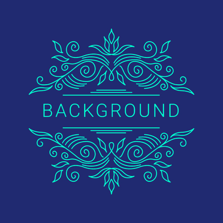 vector set: Elegant blue floral frame. Lineart vector illustration with text on dark blue background