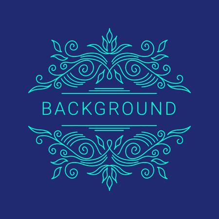 Elegant blue floral frame. Lineart vector illustration with text on dark blue background
