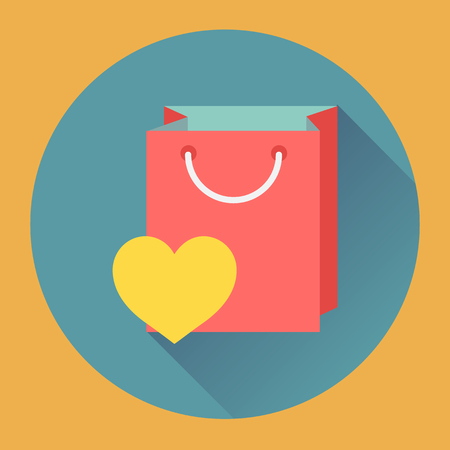 wish list: Flat design online shopping bag web vector icon with haert. Wish list symbol