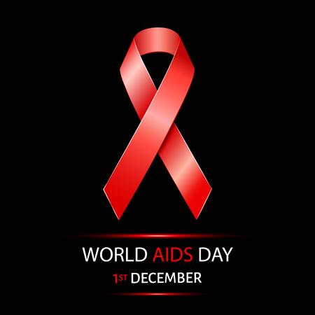personne malade: Journ�e mondiale du sida fond avec un ruban rouge de conscience de SIDA Illustration