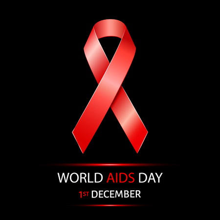 sick people: World Aids Day background with red ribbon of aids awareness