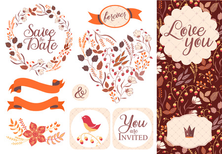 designe: BIG Wedding graphic set isolated on white. Modern flat designe. Autumn hipster style. 2 patterns inside