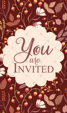 invitation: Vertical invitation card, with sign You are invited on dark modern pattern.