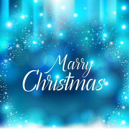northern lights: Christmas greeting card. Snow falls on background of the northern lights. With text