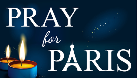 pray for: pray for paris, Abstract Background. Silhouette of Eiffel tower in  lights and bokeh with candles Illustration