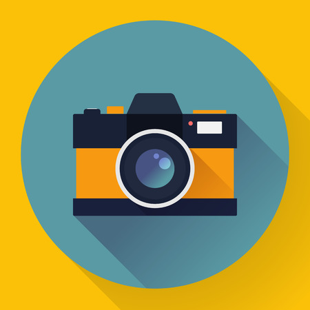 simple frame: Flat style with long shadows, camera vector icon illustration.