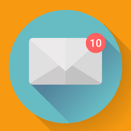 new message: New Message in Mail Icon Notification. Flat style. Illustration