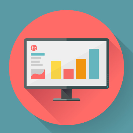 wide angle: Flat style icon of wide angle monitor with marketing presentation
