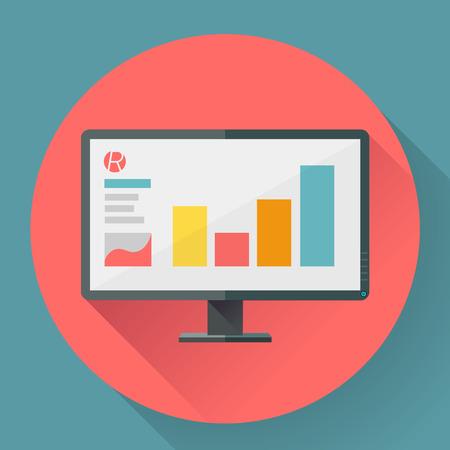 Płaski ikona stylu szerokiego kąta monitora z prezentacją marketingu