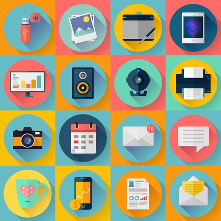 Set of Modern flat icons. Vector collection for freelancers work at home. With long shadow effect in stylish colors of business elements, office equipment and marketing items. Stock Illustratie