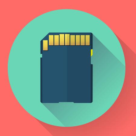 digital memory: SDHC digital Memory card vector icon. Flat style